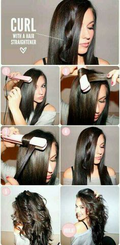 Curl with a hair straightner