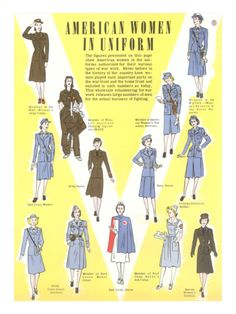 Women at War! WWII Nurses in Uniform, ca. 1940s ~ dress costume suit war era color illustration