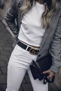 all white denim outfit checked blazer spring 2018 fashion women gucci belt outfit | seen on Want Get Repeat Blog