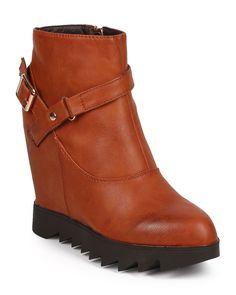 New-Women-DbDk-Monte-2-Leatherette-Lug-Sole-Buckle-Strap-Wedge-Riding-Bootie-Sz
