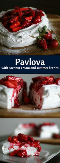 One bowl Pavlova! Dairy free - served with coconut cream and summer berries… Sugar Free Desserts, Healthy Desserts, Just Desserts, Delicious Desserts, Dessert Recipes, Yummy Food, Pavlova Cake, Eat Dessert First, Hamburgers