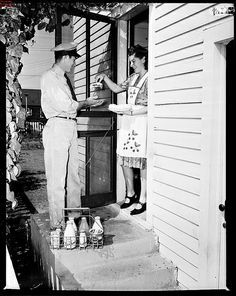 I loved getting milk delivered by the milkman from the local dairy. He came twice a week with his mild crate and pick up the empty bottles, leaving fresh, ice cold milk and orange juice. Yum!
