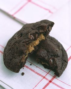 Smooth peanut butter is sealed inside chocolate-chocolate-chip dough -- Peanut-Butter Surprises Recipe