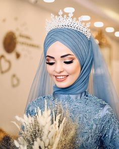 Image may contain: one or more people and closeup Wedding Hijab Styles, Muslim Wedding Dresses, Muslim Brides, Muslim Girls, Hijab Dress Party, Hijab Style Dress, Kebaya Wedding, Simple Hijab, Stylish Hijab