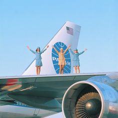 Stewardesses on the wing of a 747, 1970.