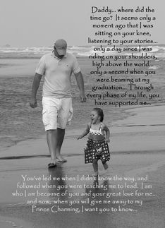 Bride to Father: father and daughter on beach card. Personalize any greeting card for no additional cost! Cards are shipped the Next Business Day. Product ID: 239191 Daddy Daughter Quotes, Daddy Day, My Daddy, Dear Daughter, Daddys Little Girls, Daddys Girl, Quotes To Live By, Me Quotes, Besties Quotes