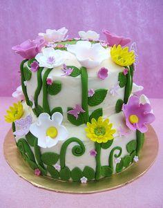 Flower garden birthday cake mother's day cake - Vegan Wedding Cake Fondant Flower Cake, Fondant Cakes, Cupcake Cakes, Flower Cakes, Garden Birthday Cake, Birthday Cake With Flowers, Flower Birthday, Cake Birthday, Happy Birthday