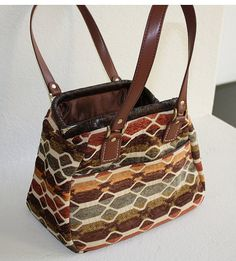 Bowling style bandbag with leather straps by SewingPatternsbyMrsH