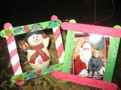 Take Popsicle sticks and glue them together at the ends and BAM! homemade picture frame ornaments.