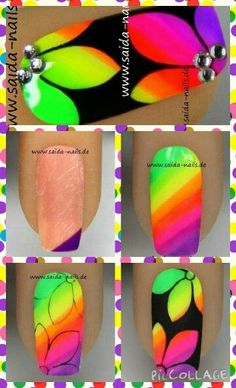 Nail art neon flowers by Saida Neon Nail Art, Neon Nails, Nail Art Diy, Diy Nails, Cute Nails, Pretty Nails, Uñas One Stroke, One Stroke Nails, Fabulous Nails