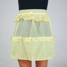 Vintage Sunshine Yellow Organza Hostess Apron