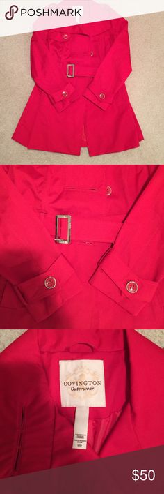 Covington trench coat NWOT Red trench coat size medium with a belt Covington Jackets & Coats Trench Coats