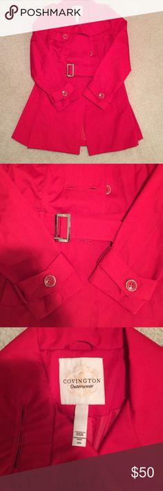Covington trench coat NWOT Red trench coat size medium with a belt Covington Jackets & Coats Trench Coats