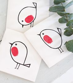 Handmade thumbprint robin red breast Christmas cards