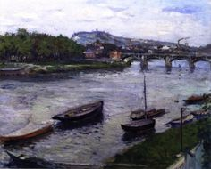 The Bank and Bridge at Argenteuil - Gustave Caillebotte - The Athenaeum
