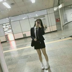 girl, pretty y korean imagen en We Heart It Korean Uniform School, School Uniform Outfits, School Girl Outfit, Girl Outfits, Fashion Outfits, Moda Ulzzang, Cute Korean Girl, Asian Girl, Ulzzang Fashion