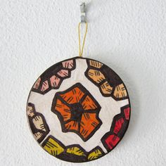 """Hot and Cool Colors Circle Ornament"" - $8.00 - #etsy @katnawlins #holiday #ornament #colorful #circle #geometric #flowers"