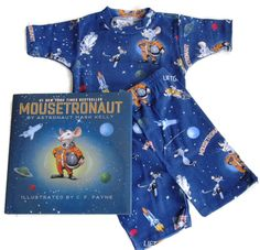 """PAJAMAS ARE MADE IN USA - Books to Bed """"Mousetronaut"""" Toddler/Boys Short John Pajamas and Book Set (3T)"""