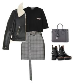 A fashion look from March 2018 featuring oversized t shirt, straight jacket et plaid skirt. Browse and shop related looks. Edgy Outfits, Classy Outfits, Fall Outfits, Cute Outfits, Fashion Outfits, Aesthetic Fashion, Look Fashion, Aesthetic Clothes, Korean Fashion