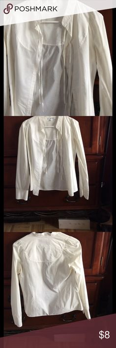 Used Calvin Klein dress shirt 100% cotton Calvin Klein button up dress shirt. Small tear in stitches under right arm but van be easily mended.  No obvious stains. Calvin Klein Tops Button Down Shirts