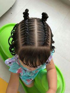 Cute Little Girl Hairstyles, Baby Girl Hairstyles, Work Hairstyles, Kids Braided Hairstyles, Braids For Kids, Braids For Long Hair, Toddler Curly Hair, Hair Due, Hair Hacks