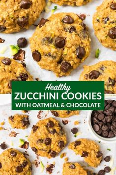 Zucchini Cookies with Chocolate Chips and Oatmeal. Soft, healthy cookies that are whole grain and naturally sweetened with honey. The BEST easy zucchini dessert. Perfect for summer or healthy desserts year-round. Recipe can be made gluten free or vegan. Healthy Zucchini Cookies, Zucchini Oatmeal Cookies, Zucchini Cookie Recipes, Zucchini Desserts, Healthy Desserts, Baking Recipes, Delicious Desserts, Dessert Recipes, Yummy Food