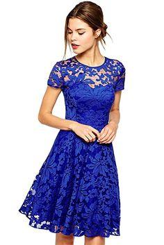 Amoluv Women Round Neck Short Sleeve Pleated Lace Slim Dress Blue X Large 6c7dccf3a