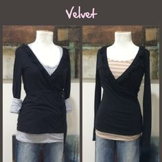 Velvet Ruffle Surplice Top This black medium weight cotton knit top by Velvet is a Surplice style with ruffles around the neckline and attached tie back belt.  Great condition.  **  Prices are as listed- Nonnegotiable.  I'm happy to bundle to save shipping costs, but there are no additional discounts.  No trades, paypal or condescending terms of endearment  ** Velvet Tops