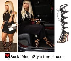 Buy Nicki Minaj's Black Knee-High Gladiator Sandals, here!
