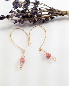 Pink Czech Beaded Gold Earrings, Pink Crystal Beaded Earrings, Beautiful Gift for Her, Unique Gift Idea by JujusNature on Etsy
