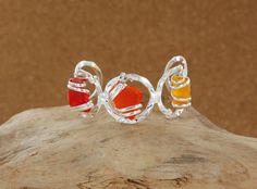 Sadie Green's Red Multi Sea Glass Cuff Bracelet