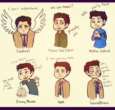 Find images and videos about supernatural, castiel and misha collins on We Heart It - the app to get lost in what you love. Supernatural Destiel, Supernatural Drawings, Leviathan Supernatural, Supernatural Necklace, Supernatural Cartoon, Supernatural Fanfiction, Supernatural Wallpaper, Misha Collins, Jensen Ackles