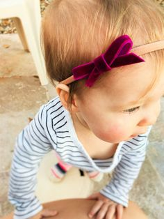 The Little Ladys Collection - Velvet Ribbon Nylon Elastic Headbands - Ivory, Baby Pink and two shades of Purple Baby Girl Headband - Dainty