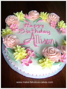 Flower birthday sheet cake Cakes sheet cakes Pinterest