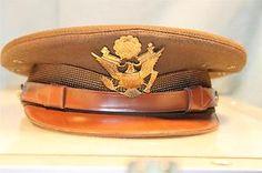 WW2 US ARMY Air Force AIR CORPS VISOR CAP HAT & Eagle Badge