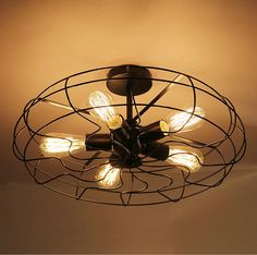 Vintage Industrial Fan Ceiling Lights American Country Kitchen Loft Lamp Iron Material Install 5pcs E27 Edison Light Bulbs HM36