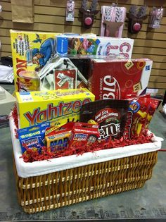 Great gift basket idea - board games, cards, and snacks!