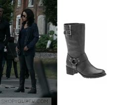 "Shots Fired: Season 1 Episode 7 Ashe's Buckle Boots | Shop Your TV Ashe Akino (Sanaa Lathan) wears these black high rise buckle boots in this episode of Shots Fired, ""Hour Seven: Content Of Their Character"".  It is the Tara M. Gigi in Graphite. Tara M, Shots Fired, Sanaa Lathan, Buckle Boots, Boot Shop, Season 1, Graphite, V Neck, Content"
