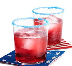 July 4th FIZZIES... Rim glasses with crushed blue POP ROCKS. Stir together: 2 parts cranberry juice, 1 part pomegranate juice, 2 parts lemon-line soda such as 7-Up, Sprite, etc. (Liquid ingredients should be CHILLED.) Serve with red, white, and blue napkins. Enjoy!
