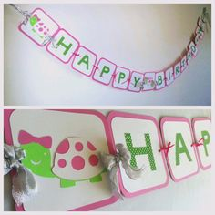 Baby Girl or Name Turtle Birthday Banner pink and green Turtle party banner