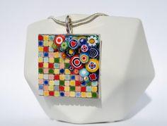 Pendentif coloré collier bijoux en céramique un cadeau