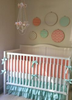 Metallic Gold Peach And Mint Crib Bedding Set