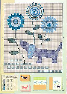 Dachshund & flowers cross stitch pattern