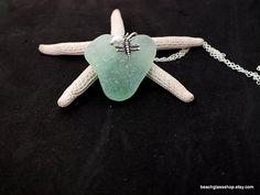 Sea Glass Heart Necklace  Lake Erie Beach Heart  Heart