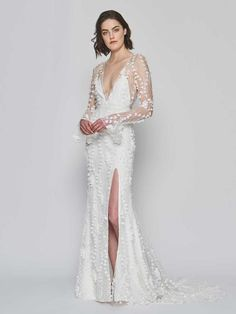 Alexandra Grecco Spring 2019 Collection hand-embroidered bell sleeve gown with illusion tulle back and side slit in skirt