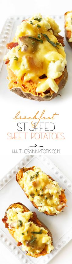 These new New NEW Breakfast Stuffed Sweet Potatoes are the perfect way to start out the day! Sweet potato boats loaded up with egg, bacon, and cheese. Yum! TheSkinnyFork.com | Skinny & Healthy Recipes
