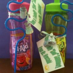 "End of the year student gift!!  I got ideas from Pinterest and made my own!  I bought water bottles, krazy straws and Koolaid packets from Dollar Tree!  Then I typed up a note that says ""Have a Totally ""Kool"" Summer!"". Finally, I put the Koolaid packets in the water bottles and tied the straws and note in with ribbon!"