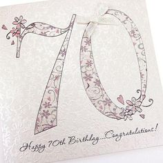 Handmade Beautiful Chic 70th Birthday Card Bows Crystals