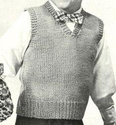 Boy's Sleeveless Pullover knit pattern from Speedknits for Children, originally . Boy's Sleeveless Pullover knit pattern from Speedknits for Children, originally published by Patons & Baldwins, Book Knitting Patterns Boys, Baby Knitting, Knitting Sweaters, Free Knitting, Ärmelloser Pullover, Knit Vest Pattern, Sweater Patterns, Kids Vest, Clothing Patterns