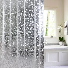 NEO Home Translucent Stone Print Heavy Duty 3D Waterproof Mildew Free Shower Curtain For Bath Bathroom Decor Sets With 12 Plastic Hooks